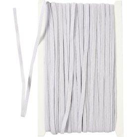 Elastikbånd, 6 mm x 50 m, hvid