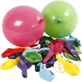 Balloner, ass. farver, 100 stk
