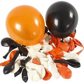 Halloween Balloner, hvid/orange/sort, 100 stk