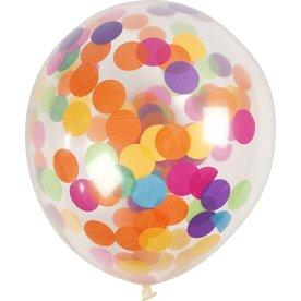 Balloner m. konfetti, transparent, 4 stk