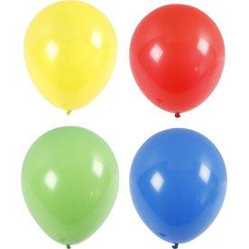 Kæmpe Balloner, gul/rød/grøn/blå, 4 stk