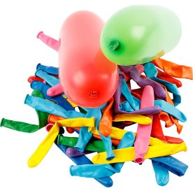 Aflange Balloner, ass. farver, 100 stk