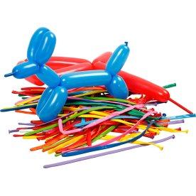 Balloner til ballondyr, ass. farver, 100 stk