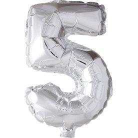 Folieballon, sølv, 5-tal