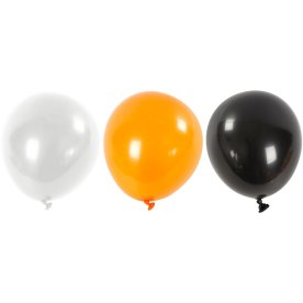 Halloween Balloner, hvid/orange/sort, 10 stk