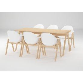NOFU Mødebordssæt, asketræ, m/6 PU stole
