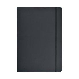 Notesbog A6 lin. PU-mat. med elastiklukning, sort