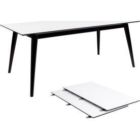 Copenhagen Spisebord, L: 195/285 cm, hvid/sort