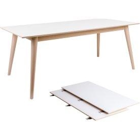 Copenhagen Spisebord, L: 195/285 cm, hvid/natur