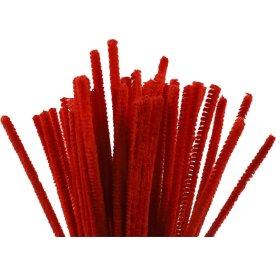 Chenille Piberensere 6 mm, rød, 50 stk