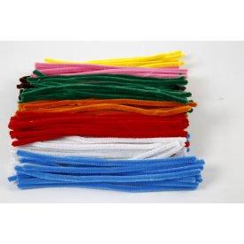 Chenille Piberensere 9 mm, ass. farver, 200 stk