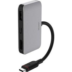 UNISYNK 3-i-1 universal USB-C hub, grå/sort