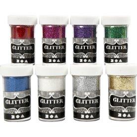 Glitterdrys, ass. farver, 8x20 g