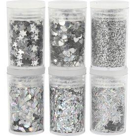 Glitter og Pailletter, sølv, 6x5 g