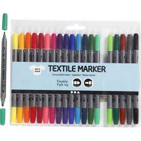 Tekstiltusser med dobbeltspids, 20 standardfarver