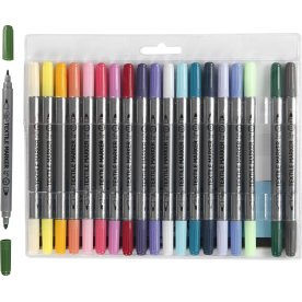 Tekstiltusser med dobbeltspids, 20 supp. farver