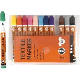 Tekstiltusser, 2-4 mm, 12 farver