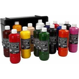 Tekstilmaling, 15x500 ml, basisfarver