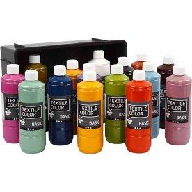 Tekstilmaling, 15x500 ml, trendfarver