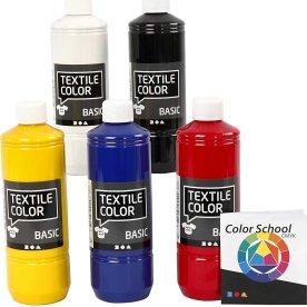 Tekstilmaling, 5x500 ml, primærfarver