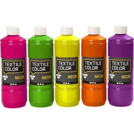 Tekstilmaling, 5x500 ml, neonfarver