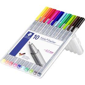 Staedtler Triplus fineliner etui med 10 farver