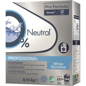 Neutral Pro Vaskepulver White Sensitive, 8,55 kg