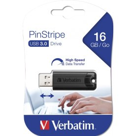 Verbatim USB 3.0 Pinstripe 16GB, sort