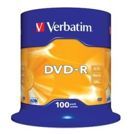 Verbatim DVD-R 16x 4,7GB spindel, 100 stk