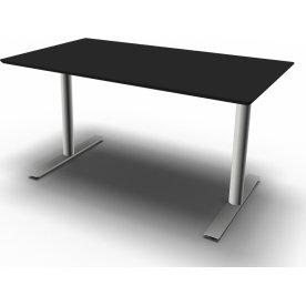 InLine hæve/sænkebord, 140x80 cm, sort/alu