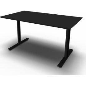 InLine hæve/sænkebord, 140x80 cm, sort/sort