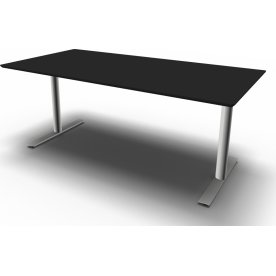 InLine hæve/sænkebord, 180x80 cm, sort/alu