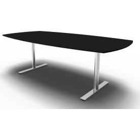 Inline Konferencebord 220x110/90 sort Lin/Krom