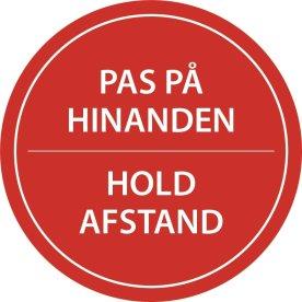 "Gulvmærkning ""Hold Afstand"" Rød diameter 20cm"