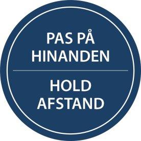 """Gulvmærkning """"Hold Afstand"""" Blå diameter 20cm"""