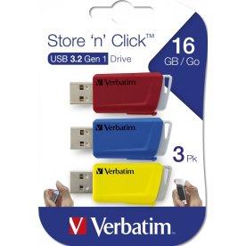 Verbatim Store 'n' Click 16GB USB, rød/blå/gul