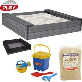 NORDIC PLAY sandkasse, 120 x 120 cm, 240 kg sand