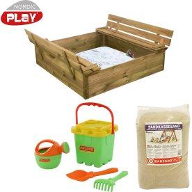 NORDIC PLAY sandkasse med bænk & låg, 240 kg sand