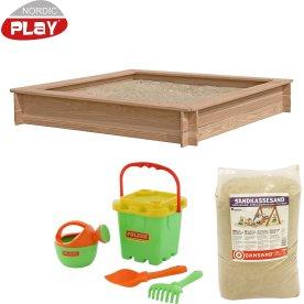 NORDIC PLAY Sandkasse lærk 150x150 cm, 240 kg sand