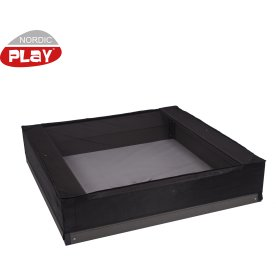 NORDIC PLAY Sandkassenet 120 x 120 x 20 cm, sort
