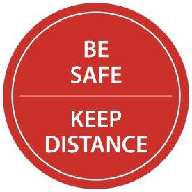 "Gulvmærkning ""Keep distance"" Rød diameter 20cm"