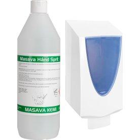 Masava Håndsprit 70 % + Dispenser m/pumpe, 1 L
