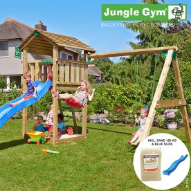 Jungle Gym legetårn m. gynger, sand og rutschebane
