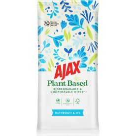 Ajax Plantebaseret Badrum Wipes, 70 stk
