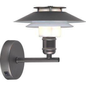 1123 Væglampe, Ø18, sort/opal