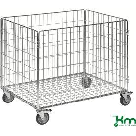 Trådkurv m. hjul, 83,5x62,5x74 cm, 100 kg
