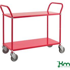 Rullebord 2 hylder, 1070x450x940, 250 kg, Rød