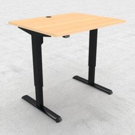 Compact hæve/sænkebord, 100x80 cm, Bøg/sort