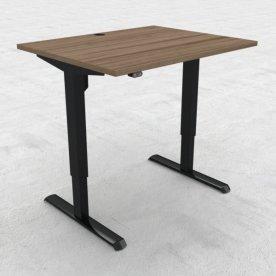 Compact hæve/sænkebord, 100x80 cm, Valnød/sort