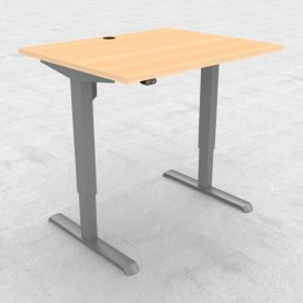 Compact hæve/sænkebord, 100x80 cm, Bøg/alu
